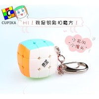 Rubik 3x3x3 Qiyi Gantungan Kunci 3 cm Model cembung/Pillow Stickerless