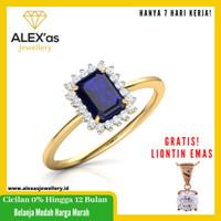 cincin berlian Blue Saphire ring natural diamond emas 18k 7 hari vvs