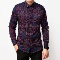 Kemeja Batik Pria Songket Purple Ungu Long Slimfit Casual 3634