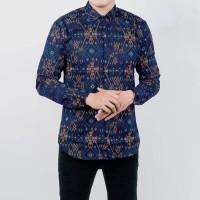 Kemeja Batik Songket Pria Lengan Panjang Motif Green Snow Slimfit