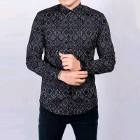 Baju Kemeja Pria Batik Songket Diamond Modern Slimfit Casual Hitam