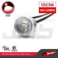 1 Pasang Lampu LED Eagle Eye DRL White Housing 10W 23MM - Red