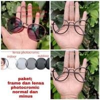 kacamata bulat paket frame dan lensa normal/minus photocromic
