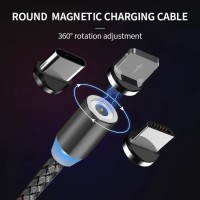 Kabel 3in1 magnetic magnet iphone android charger fast charging cable