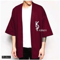 Kimono Pria Merah Maroon | Outer Pria | Jaket Pria | Cardigan Pria