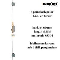 Body kunci anti maling 3 point lock roller 60mm 180 cm LC D27-60 SS304