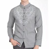 Baju Koko Pria Busana Muslim Samed Lengan Panjang Kemeja Batik Abu