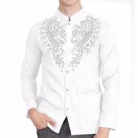 Baju Koko Pria Busana Muslim Samed Lengan Panjang Kemeja Batik Putih
