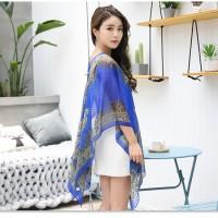 Floral Print Pantai Blouse Selendang / Blazer terbaru fashion wanita - biru tua