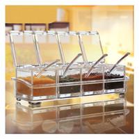 Tempat Bumbu Kotak 1 Set 4 Pcs Transparan / Alat Dapur / Alat Masak