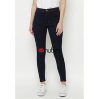 Celana Panjang Jeans Highwaist Wanita Navy Stretch Nuber - Arumdalu