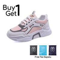 ASLI IMPORT Sepatu Sneakers Wanita Student School Sneakers -J198 - Putih, 36