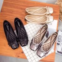 Sepatu fashion cewek flat shoes ballerina Taihua Naomi Tory - BLACK, 36