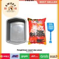 [PAKET] Bak Pasir Kucing Size M + Pasir Gumpal Wangi Cubnkit 5 Liter +