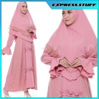 Setelan Muslim, Ghania Syari Pink, Gamis Khimar Pesta Brukat Pink A63