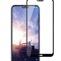 * Nokia 61 Plusx6 - Full Cover Full Lem Tempered Glass 5d - Hitam