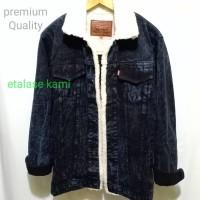 jaket sherpa jaket bulu jaket jeans denim bulu warna navy sanwosh