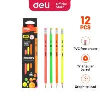 Deli EU51600 Grafit Pensil Kayu 12 Pcs/Box 4 Warna dengan Penghapus