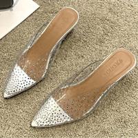 Sandal Import wanita Peri Transparan Tumit Rendah 0201 - silver, 36