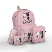 BCLCXE tas sekolah ransel backpack anak remaja perempuan cewek, 4 in 1