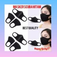 Masker kain non medis bahan scuba hitam polos
