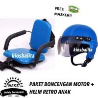 Free Masker!! Termurah Paket Kursi Boncengan Motor Anak + Helm Retro