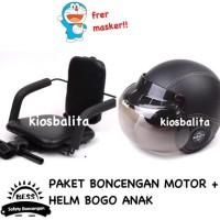Free Masker!! Paket Boncengan Motor Kursi Bonceng Anak + Helm Bogo