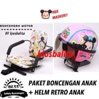 Free Masker!! Paket Kursi Boncengan Motor Anak + Helm Retro Anak