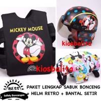 Free Masker!! Paket Murah Sabuk Boncengan Motor Anak + Helm Retro +
