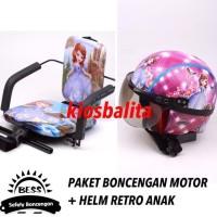 Free Masker!! Promo Paket Boncengan Motor Anak + Helm Retro Shinchan