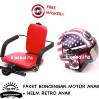 Free Masker!! Paket Boncengan Motor Anak Kursi Bonceng + Helm Retro
