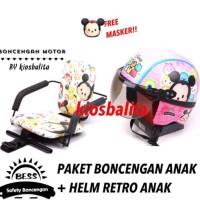 Free Masker!! Paket Kursi Boncengan Motor Anak + Helm Retro Anak Murah