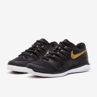 Sepatu Tenis Nike Womens Air Zoom Vapor X HC - Black/Metallic Gold/Whi