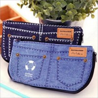 Denim Canvas Shorts Pencil Case Simple Large Capacity Cosmetic Bag