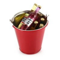 Metal Simulation Bucket and Six Wine Bottles RC Decoration Tool DIY