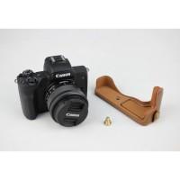 PU Casing Flip Case untuk Canon EOS M50 - Warna Coklat Bahan Kulit