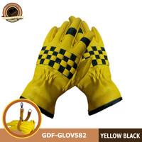 SARUNG TANGAN KULIT MOTOR PRIA LEATHER GLOVES GDF-GLOV582.KUNING - Kuning, S