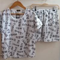 baju tidur katun rayon dewasa tulisan korea
