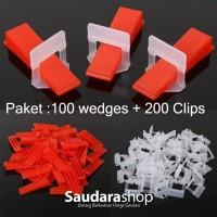 Paket Leveling Tile wedges + clip / Alat Perata Keramik / Clips nat