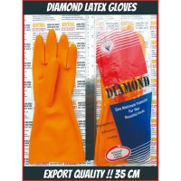 Sarung Tangan Karet Luar Latex Diamond Safety APD Medis 35 cm Non Slip