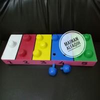 Mainan Edukasi Kayu Pasak Jamur Warna Warni
