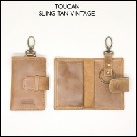 gantungan kunci toucan original sling tan vintage asli kulit sapi