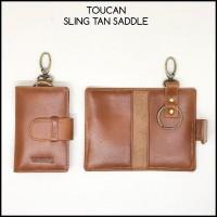 gantungan kunci toucan original sling tan saddle asli kulit sapi