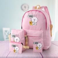 LPCFD tas sekolah ransel backpack anak perempuan cewek murah 4 in 1