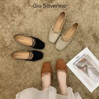Flat shoes wanita terbaru Gio Saverino Victoria sepatu cewek - Hitam, 36