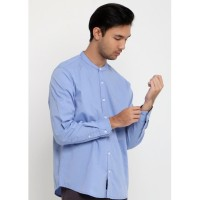 TRIPLE Kemeja Lengan Panjang Slim Fit (LS MC 411-BLU)