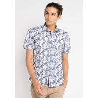 Kemeja Pria EDITION ESS29 NAVY Short Sleeve Woven Shirt printed