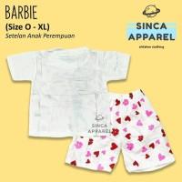 Big Sale Baju Setelan Anak Cewek Perempuan Set Kaos Celana - Barbie -