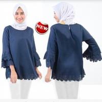 Fashion Muslim .BlouseWanita Valine Navy +Bawah Lanser Full.Fit - XL .