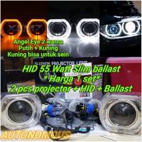 lampu HID Projector 55 Watt UNIVERSAL Model BMW Angel Eyes 2 Warna
